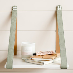 White + Sage Suede Leather Strap Side Table Shelf