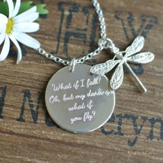 Personalised silver disc & dragonfly necklace