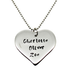 Personalised Bridal Party heart necklace