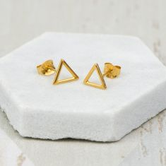 Gold Geometric Triangle Earrings