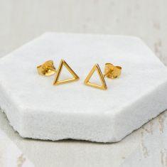Gold Geometric Triangle Earrings