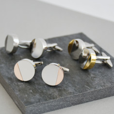 Half Moon Mixed Metal Personalised Solid Disc Cufflinks