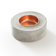 Concrete & copper tea light holder (round)