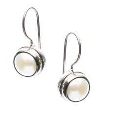 Sterling silver and white pearl earrings