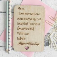 Wooden favourite child Mother's Day card