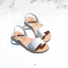 Costa velvet leather sandals in white