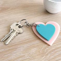 Heart Keyring Combo - Blush Pink and Aqua Blue
