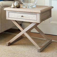 Oak cross leg side table