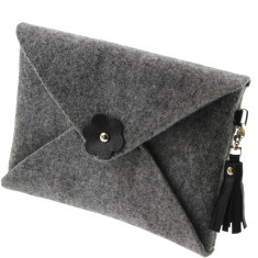 Felt iPad mini case with black leather tassel