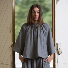 Mary Poncho in Dove Grey