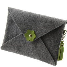 iPad mini iPad Air felt clutch purse with green leather tassel