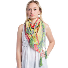 Handcrafted viscose scarf with tassels