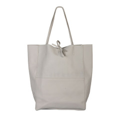 Monica White leather shopper