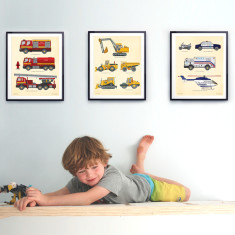 Vehicle wall prints (police, fire, construction)