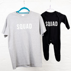 Dad And Me Squad T Shirt And Baby Romper Sleepsuit Set