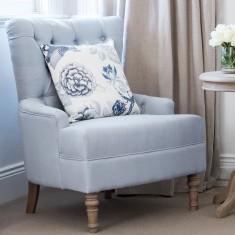 Duck Egg Blue Linen Buttoned Armchair