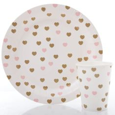Sweetheart party plates and cups set (two colours)