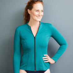 Womens Long sleeved swimming top (rashie) in Teal