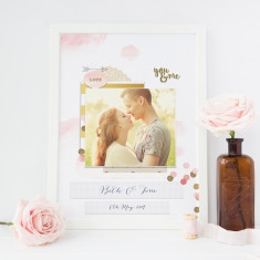 Confetti personalised romantic art print with your photo