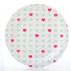 Sweetheart paper party plates in aqua & hot pink (2 packs of 10)