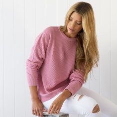 Cashmere rib sweater in pink