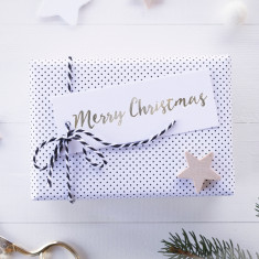Silver foil Merry Christmas gift tags (set of 6)
