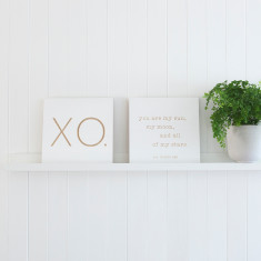 XO + moon and stars carved plywood quote board set