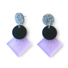 Deco drop earrings - frosted lilac, black and silver glitter