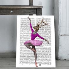 Ballet deer in pink book print