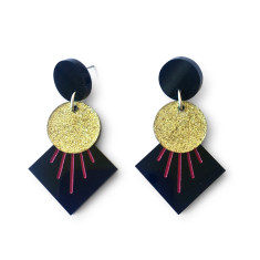 Deco drop earrings - Black, gold glitter and pink