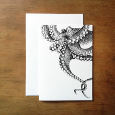 Illustrated octopus greeting card