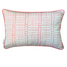 Blush pink Tribal dash linen cushion
