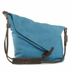 Canvas cross body bag with leather straps in blue