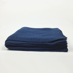 Navy knitted throw