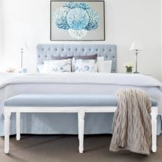 Duck Egg Blue Linen Bed Ottoman