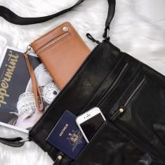 Susie Leather Handbag With Adjustable Strap (Black)
