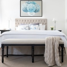 Natural Linen Bed ottoman - Black Frame