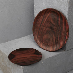 Hand Carved Circle Rosewood Plate