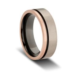 Custom Grey and Black Zirconium Wedding Band with Rose Gold Plated Edging