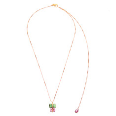 Tourmaline parcel necklace in rose gold plate