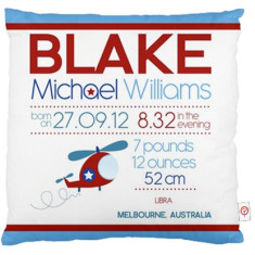Boys' personalised birth chart cushion cover (various designs)