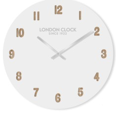 London Clock Company Hvit (Numbers) White Wall Clock 50cm
