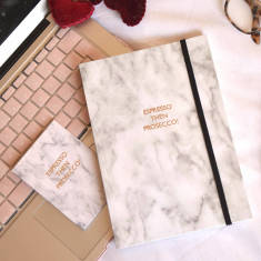Espresso Then Prosecco Marble Journal And Card Set