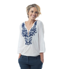 Louana top with blue embroidery