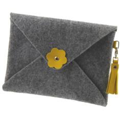 iPad mini iPad Air felt clutch purse with freesia yellow leather tassel