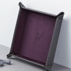 Leather Valet Tray with Travel Motif