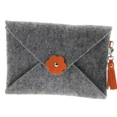 iPad mini iPad Air felt clutch purse with orange leather tassel