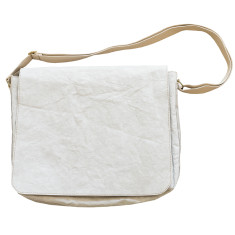 Computer satchel in Italian paper fabric stone grey