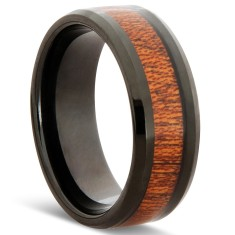 Black tungsten and wood ring