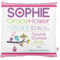 Girls' personalised birth chart cushion cover (various designs)
